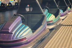 Cars in lunapark. Close up, retro toned Stock Image