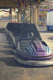 Cars in lunapark. Row of cars in lunapark, retro toned Stock Photo