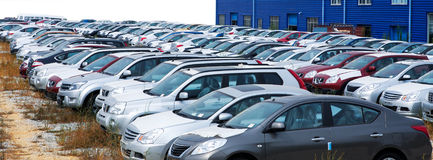 Cars in market Stock Images