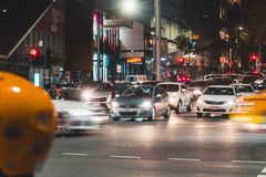 Cars in Melbourne CBD at Night royalty free stock photos