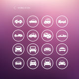 Cars mobile icons set different  car forms. Royalty Free Stock Photos