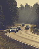 Cars in the morning highway Royalty Free Stock Photography