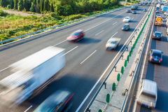 Cars in motion blur on highway,Beijing China Royalty Free Stock Photography