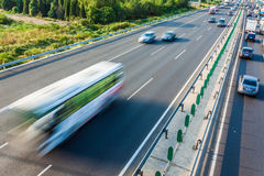 Cars in motion blur on highway,Beijing China Royalty Free Stock Images
