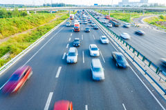 Cars in motion blur on highway,Beijing China Stock Photography