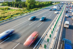 Cars in motion blur on highway,Beijing China Royalty Free Stock Photos