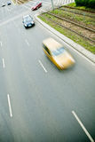 Cars in motion blur on a street of Wroclaw Stock Photography