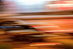 Cars in motion in the night city Royalty Free Stock Photography