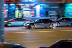 Cars in motion in the night city Royalty Free Stock Image