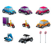 Cars Motorcycles and traffic signs set isometric. Vector illustration Royalty Free Stock Photo