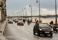 Cars and motorcycles on the waterfront. stock image