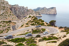 The Cars the mountain road of the Cape Formentor. Island Majorca, Spain. Royalty Free Stock Image