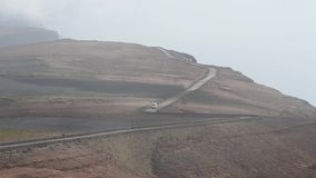 Cars on a mountain road. In Lanzarote, Canary Islands stock video footage