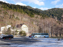 Cars on the mountain road in Yumoto Onsen, Japan.  Stock Images