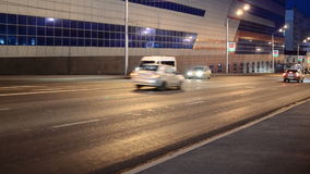 Cars Moving Downhill. UFA/BASHKORTOSTAN - RUSSIA 10th June 2015 - Cars traveling at night moving on an open unjammed road with headlights and stop lights stock video footage