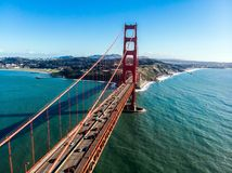 Cars moving on Golden Gate bridge in San Francisco Bay. Royalty Free Stock Photography