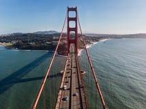 Cars moving on Golden Gate bridge in San Francisco Bay. Stock Photo