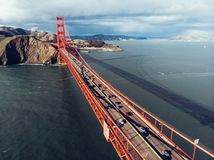 Cars moving on Golden Gate bridge in San Francisco Bay. Royalty Free Stock Photos