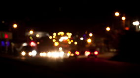 Cars moving on the night road Stock Photography