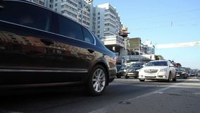 Minsk, Belarus, April 4, 2018: Cars moving at rush hour busy town. Cars moving at rush hour busy town stock footage