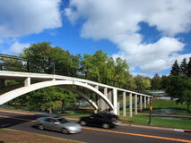 Cars moving under the bridge Royalty Free Stock Photography