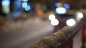 Cars snow traffic night. Cars moving in winter snow. Heavy snow and traffic at night stock footage