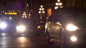 Cars movings night city. Cars headlights dark street background stock video footage