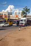 Cars in Nairobi. Cars through the capital of kenya, nairobi. It is an image vertically on a sunny day. The picture was taken in May 2014 stock photos