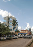 Cars in Nairobi. Cars through the capital of kenya, nairobi. It is an image vertically on a sunny day. The picture was taken in May 2014 royalty free stock photos