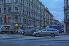Cars on the Nevsky Prospect Royalty Free Stock Image