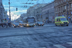 Cars on the Nevsky Prospect Royalty Free Stock Photography