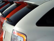 Cars in new car lot. Tail end of new cars at new car lot Stock Photography