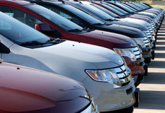 Cars in new car lot. Front end of new cars at new car lot Royalty Free Stock Photos