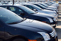Cars in new car lot Royalty Free Stock Images