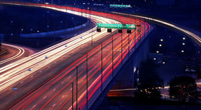 Cars at night with motion blur Royalty Free Stock Images
