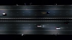 Cars on the night road. night traffic. view from the air. flight on the night road. Cars on the night road. night traffic from Above. view from the air. flight stock video footage