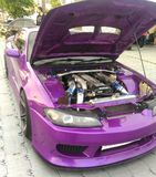 Tuning Car purple. Cars Nissan S-series are popular in competitions on drift, especially bodies from S13 to S15 Stock Photos