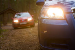 Cars in north forest Royalty Free Stock Image