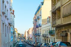 Cars Old Town street Lisbon. Cars parked at Old Town street of Lisbon, Portugal royalty free stock image