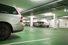 Cars parhed in an underground parking/garage Stock Photo