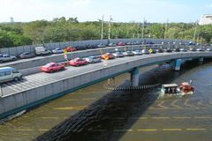 Cars park in row on a bridge to avoid flooding Royalty Free Stock Photos