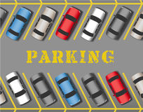 Cars park in store Parking Lot rows. Many cars parked in store or business parking lot filling all the spaces Royalty Free Stock Photos