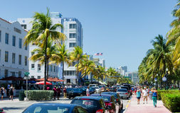 Cars parked along ocean dr. street in south Miami Royalty Free Stock Photos