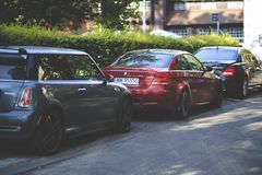 Cars parked along way Royalty Free Stock Images