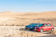 Cars parked in desert Royalty Free Stock Image