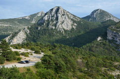 Cars parked at the edge of canyon Verdon Stock Images