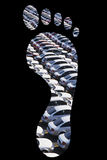 Cars parked in footprints over black background Stock Photo