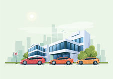 Cars Parked in front of Office Building and City Background Royalty Free Stock Images