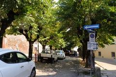 Cars parked on an Italian street stock photos