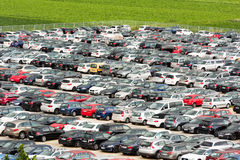 Cars parked in a large parking lot Royalty Free Stock Images